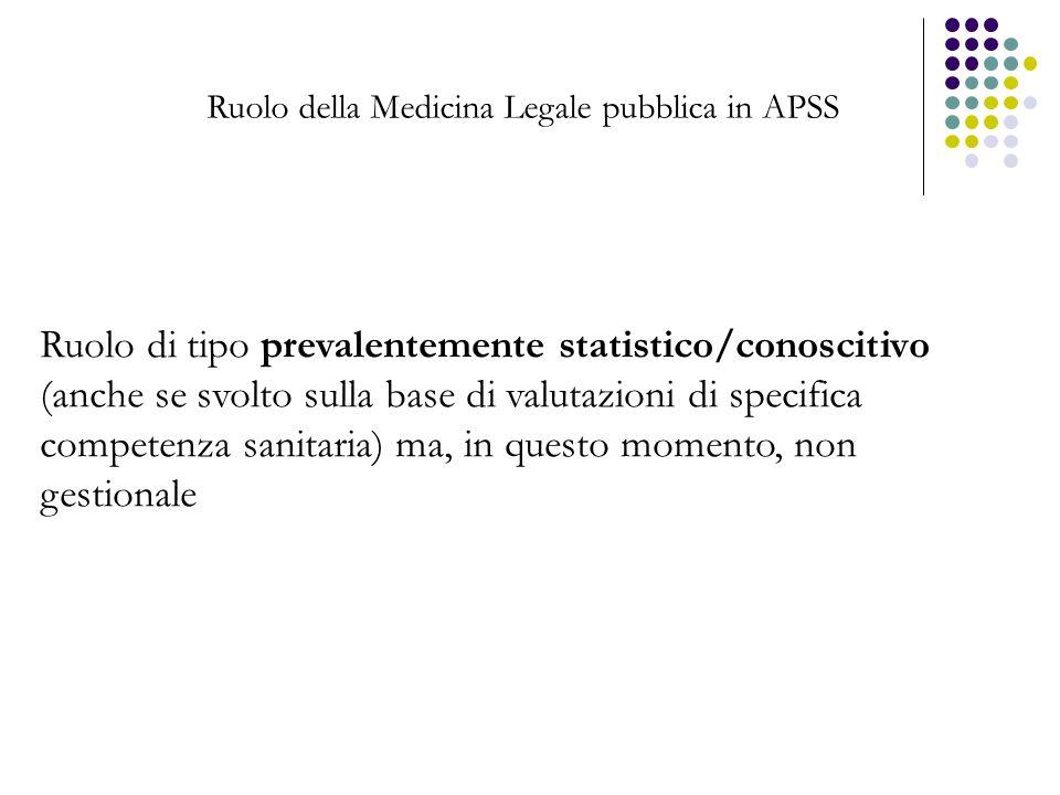 Ruolo della Medicina Legale pubblica in APSS Ruolo di tipo prevalentemente statistico/conoscitivo (anche se svolto sulla base di valutazioni di specif
