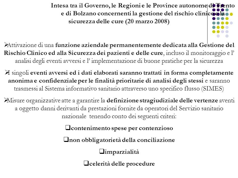 Intesa tra il Governo, le Regioni e le Province autonome di Trento e di Bolzano concernenti la gestione del rischio clinico e la sicurezza delle cure