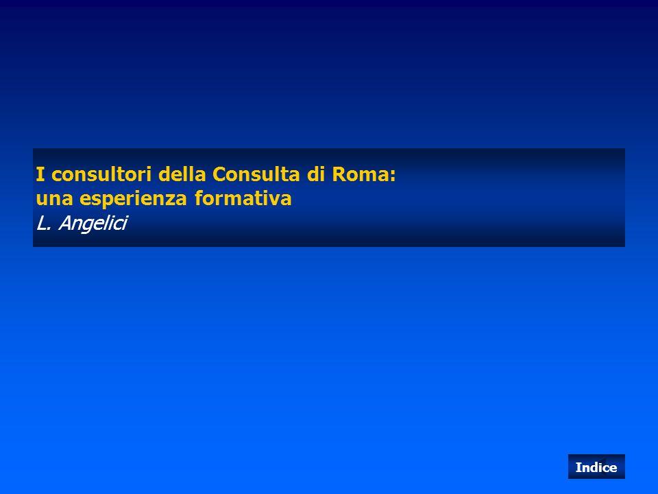 I consultori della Consulta di Roma: una esperienza formativa L. Angelici Indice