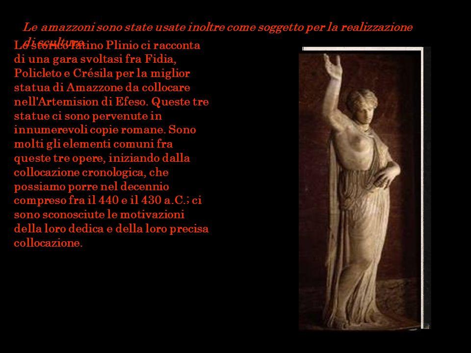 Le amazzoni sono state usate inoltre come soggetto per la realizzazione di sculture. Lo storico latino Plinio ci racconta di una gara svoltasi fra Fid