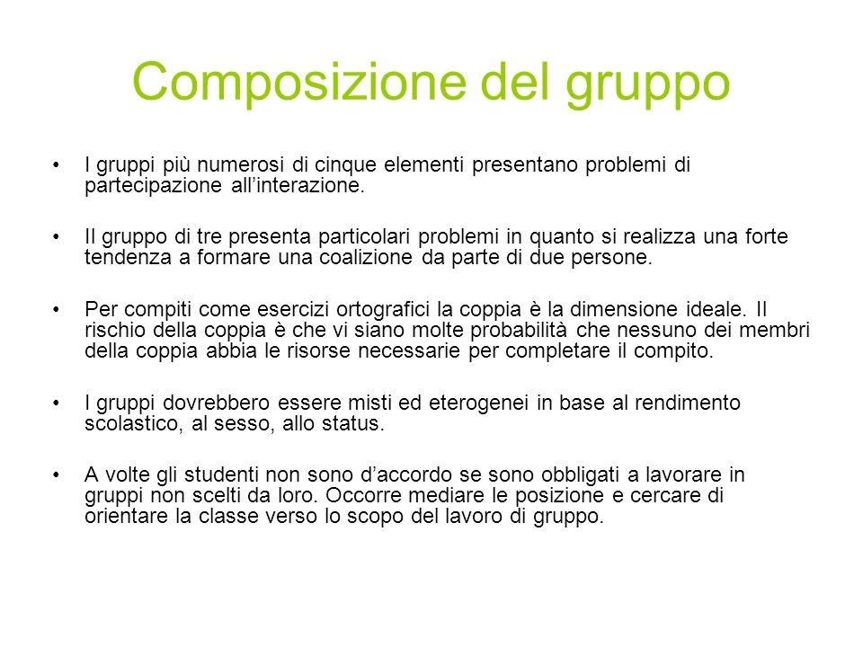 Composizione del gruppo I gruppi più numerosi di cinque elementi presentano problemi di partecipazione allinterazione. Il gruppo di tre presenta parti