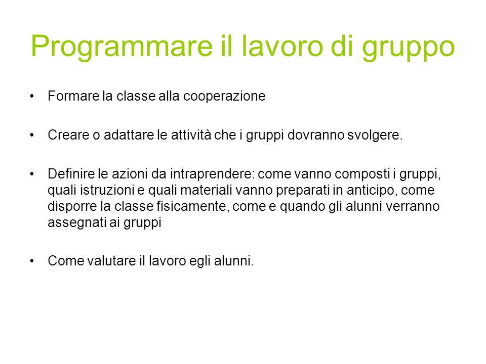 Programmare il lavoro di gruppo Formare la classe alla cooperazione Creare o adattare le attività che i gruppi dovranno svolgere. Definire le azioni d