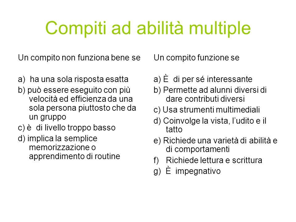 Compiti ad abilità multiple Un compito non funziona bene se a) ha una sola risposta esatta b) può essere eseguito con più velocità ed efficienza da un
