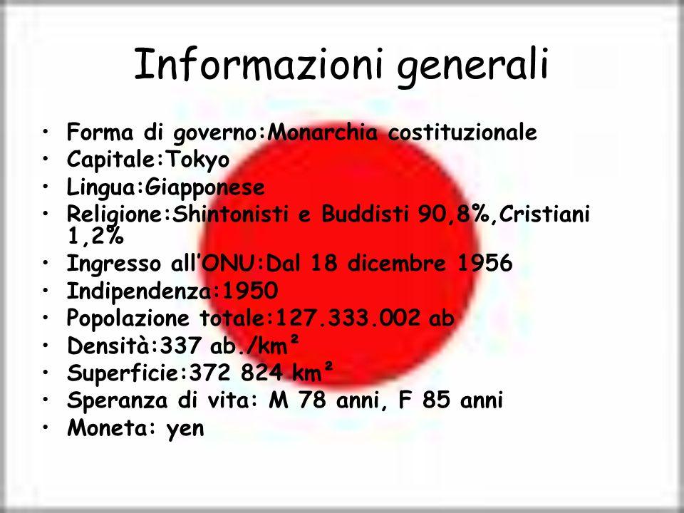 Informazioni generali Forma di governo:Monarchia costituzionale Capitale:Tokyo Lingua:Giapponese Religione:Shintonisti e Buddisti 90,8%,Cristiani 1,2%
