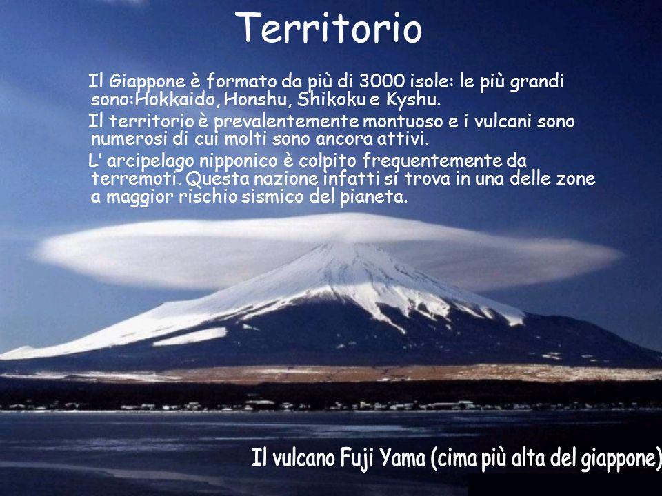 Territorio Il Giappone è formato da più di 3000 isole: le più grandi sono:Hokkaido, Honshu, Shikoku e Kyshu. Il territorio è prevalentemente montuoso