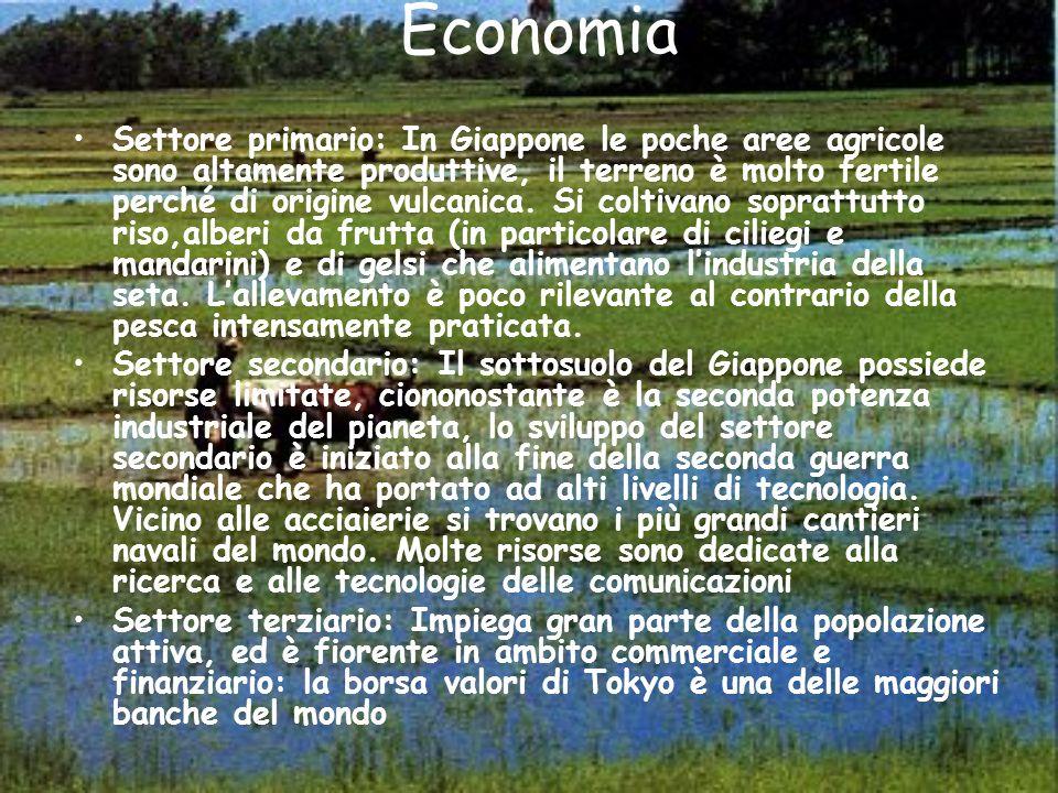 Economia Settore primario: In Giappone le poche aree agricole sono altamente produttive, il terreno è molto fertile perché di origine vulcanica. Si co