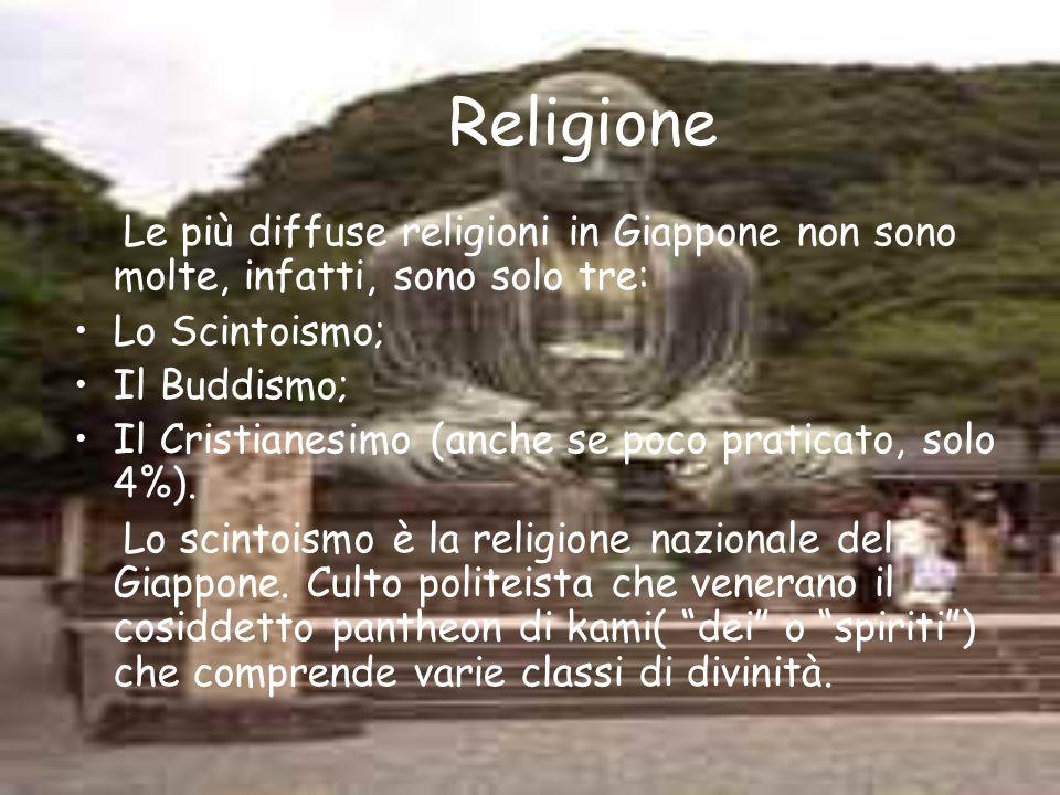 Religione Le più diffuse religioni in Giappone non sono molte, infatti, sono solo tre: Lo Scintoismo; Il Buddismo; Il Cristianesimo (anche se poco pra