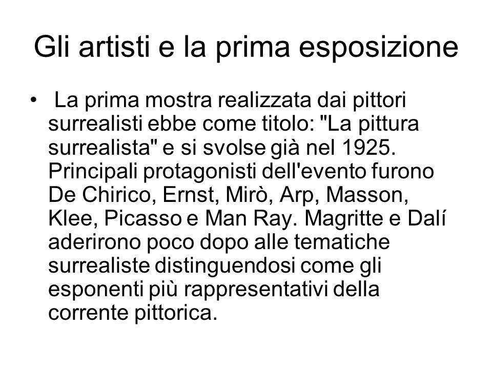 Gli artisti e la prima esposizione La prima mostra realizzata dai pittori surrealisti ebbe come titolo: