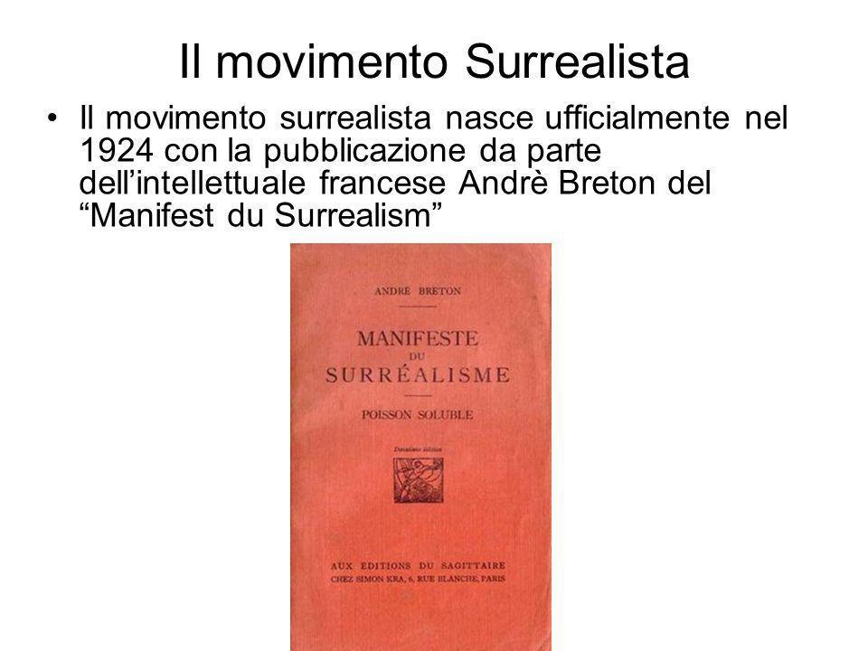 Il movimento Surrealista Il movimento surrealista nasce ufficialmente nel 1924 con la pubblicazione da parte dellintellettuale francese Andrè Breton d