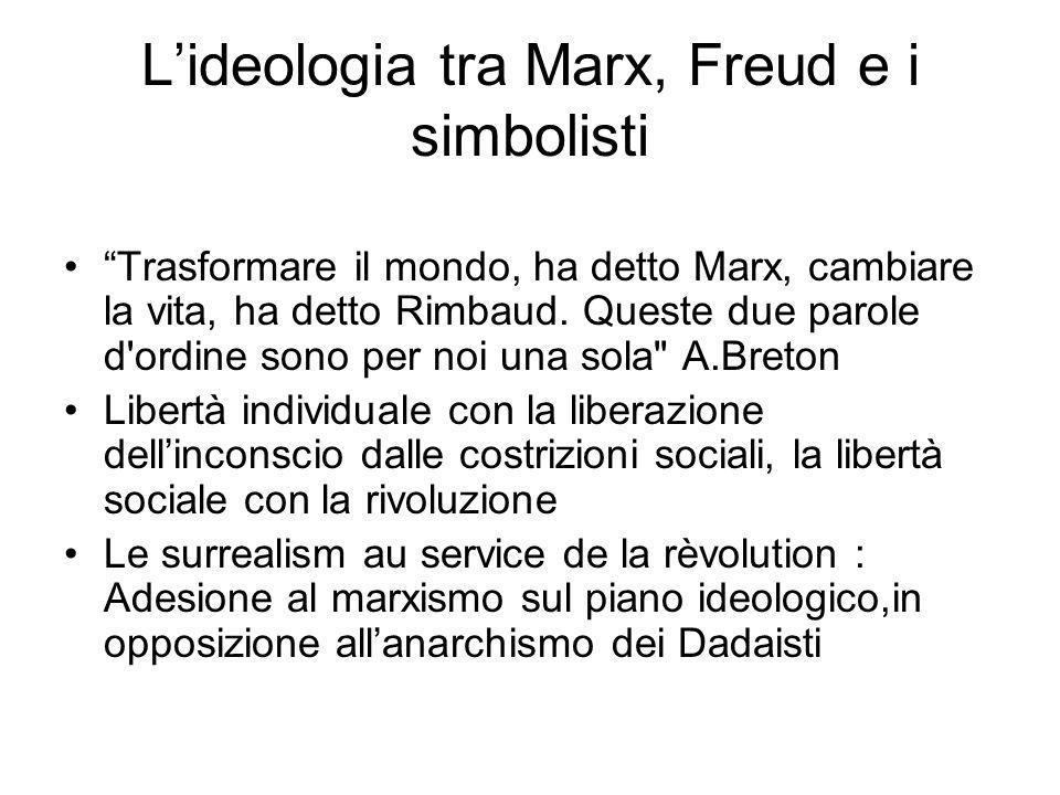 Lideologia tra Marx, Freud e i simbolisti Trasformare il mondo, ha detto Marx, cambiare la vita, ha detto Rimbaud. Queste due parole d'ordine sono per