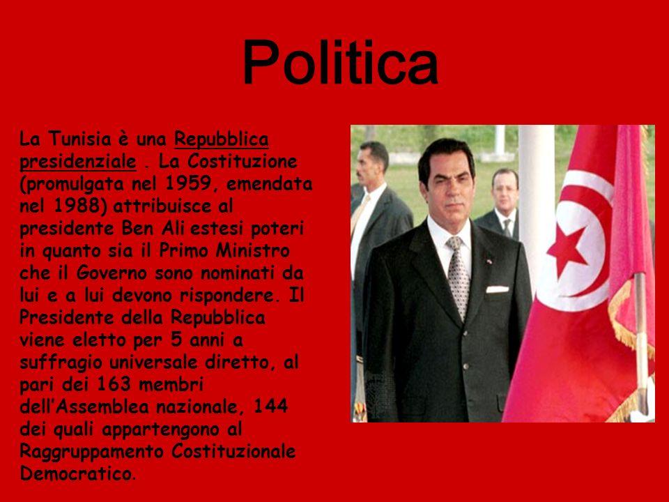 Politica La Tunisia è una Repubblica presidenziale. La Costituzione (promulgata nel 1959, emendata nel 1988) attribuisce al presidente Ben Ali estesi