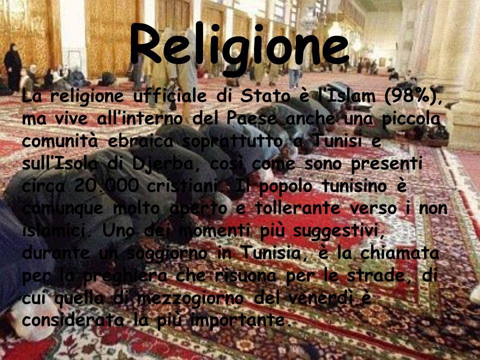 Religione La religione ufficiale di Stato è lIslam (98%), ma vive allinterno del Paese anche una piccola comunità ebraica soprattutto a Tunisi e sullI