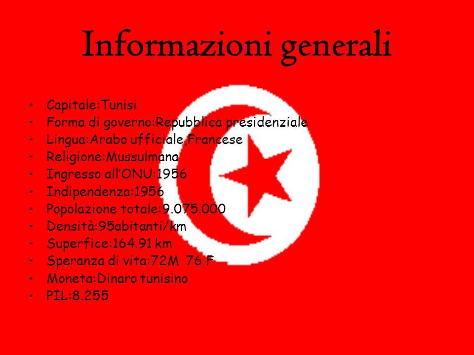 Informazioni generali Capitale:Tunisi Forma di governo:Repubblica presidenziale Lingua:Arabo ufficiale,Francese Religione:Mussulmana Ingresso allONU:1