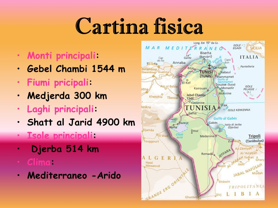 Cartina fisica Monti principali: Gebel Chambi 1544 m Fiumi pricipali: Medjerda 300 km Laghi principali: Shatt al Jarid 4900 km Isole principali: Djerb