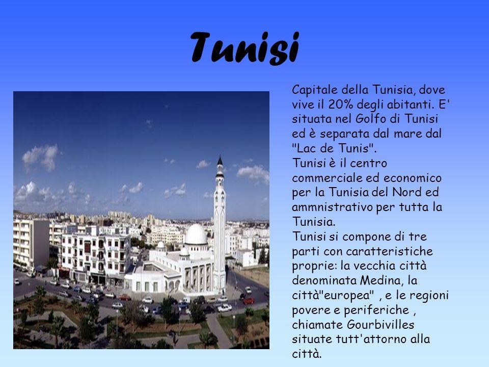Tunisi Capitale della Tunisia, dove vive il 20% degli abitanti. E' situata nel Golfo di Tunisi ed è separata dal mare dal