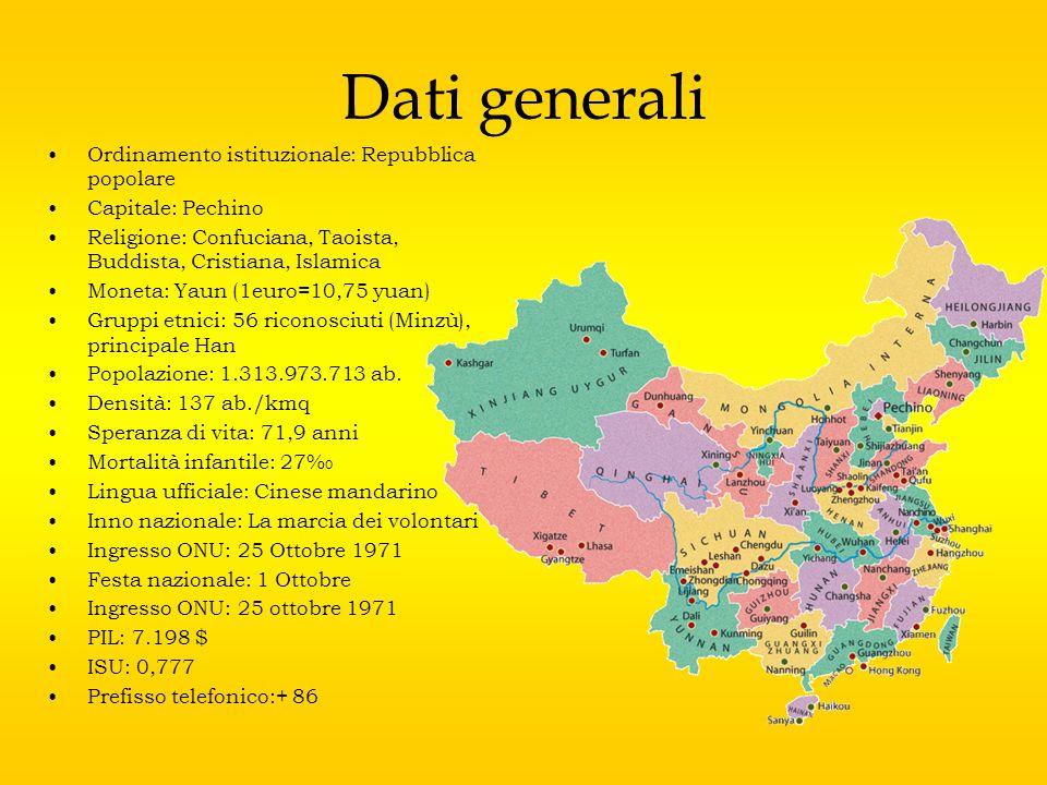 Dati morfologici Idrografia :- 50% dei fiumi tra i quali Chang jiang (Fiume Giallo), Huanghe (Fiume Azzurro) e Xijiang, sfocia nell Oceano Pacifico; - 10% sfocia nel Mar Glaciale Artico, - il 40% si getta negli aridi bacini occidentali e settentrionali, Confini: - nord: Mongolia e Russia, -nord-est: Russia e Corea del nord, -est: Mar Cinese Orientale, -sud: Mar Cinese Meridionale, Vietnam, India, Nepal -ovest: Pakistan,Afghanistan,Tagikistan, Orografia: Everest (8850m), K2 (8610m), Kanchenjunga,Lhotse,Makalu,Dhaulagiki,Manas lu,Cho Oyu,Nane Prabat Clima: influenzato dai venti monsonici.