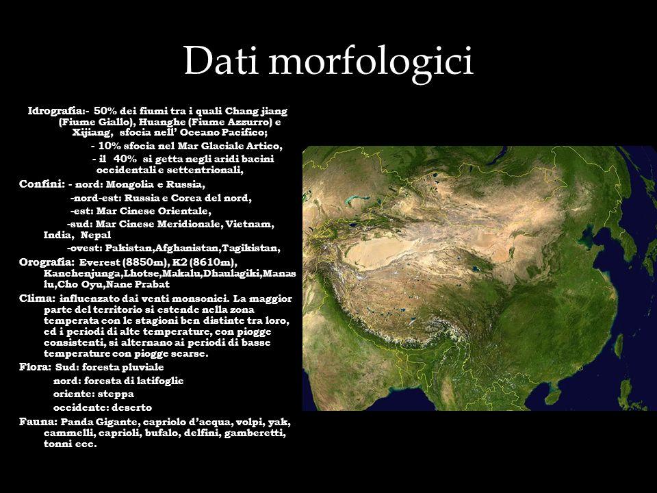 Dati morfologici Idrografia :- 50% dei fiumi tra i quali Chang jiang (Fiume Giallo), Huanghe (Fiume Azzurro) e Xijiang, sfocia nell Oceano Pacifico; -