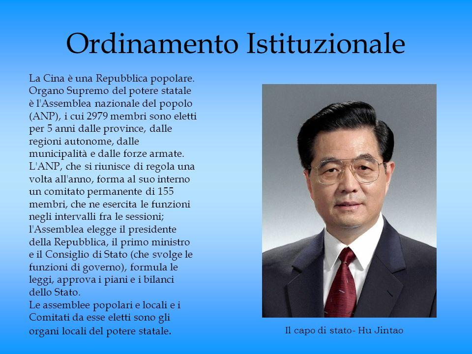 Ordinamento Istituzionale La Cina è una Repubblica popolare. Organo Supremo del potere statale è l'Assemblea nazionale del popolo (ANP), i cui 2979 me