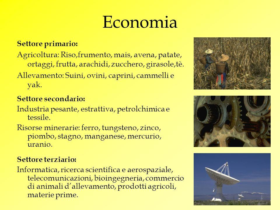 Economia Settore primario: Agricoltura: Riso,frumento, mais, avena, patate, ortaggi, frutta, arachidi, zucchero, girasole,tè. Allevamento: Suini, ovin
