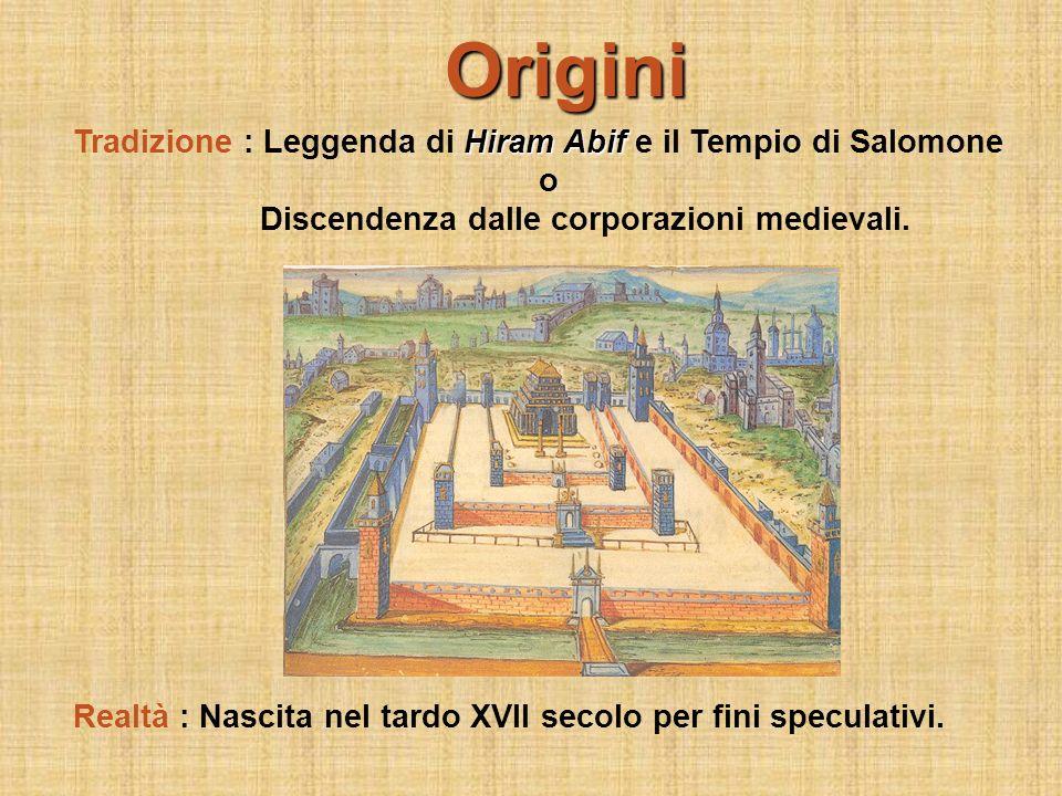 Origini Hiram Abif Tradizione : Leggenda di Hiram Abif e il Tempio di Salomone o Discendenza dalle corporazioni medievali. Realtà : Nascita nel tardo