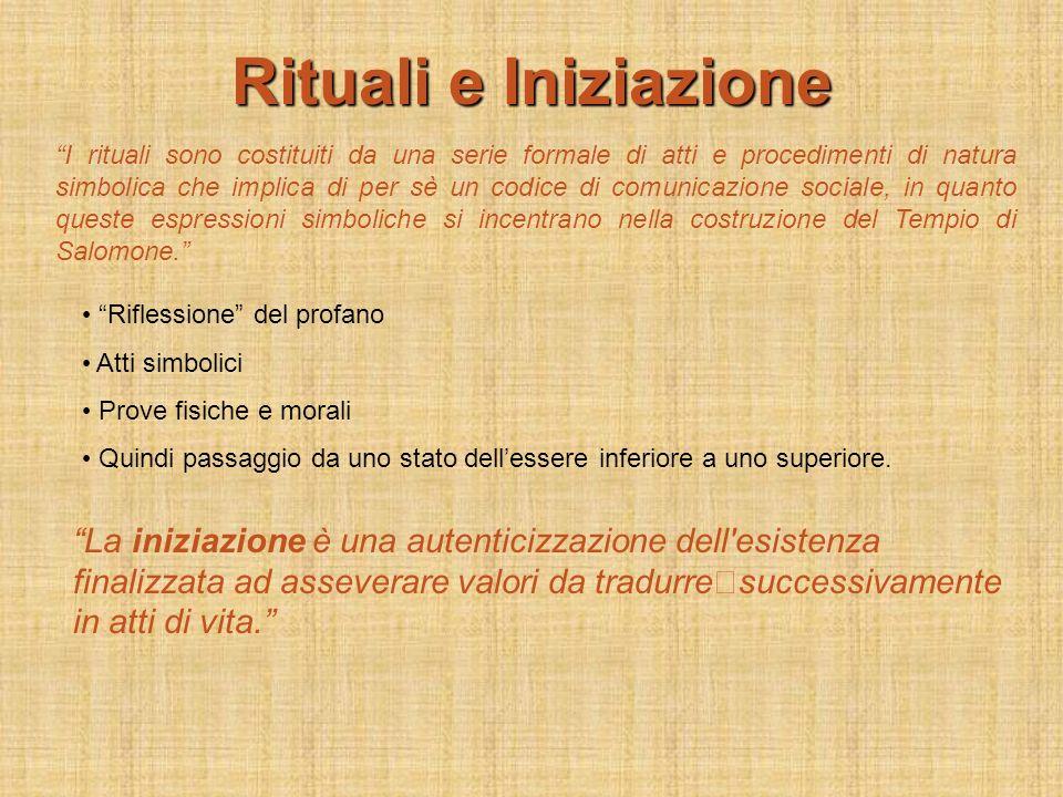 Rituali e Iniziazione I rituali sono costituiti da una serie formale di atti e procedimenti di natura simbolica che implica di per sè un codice di com