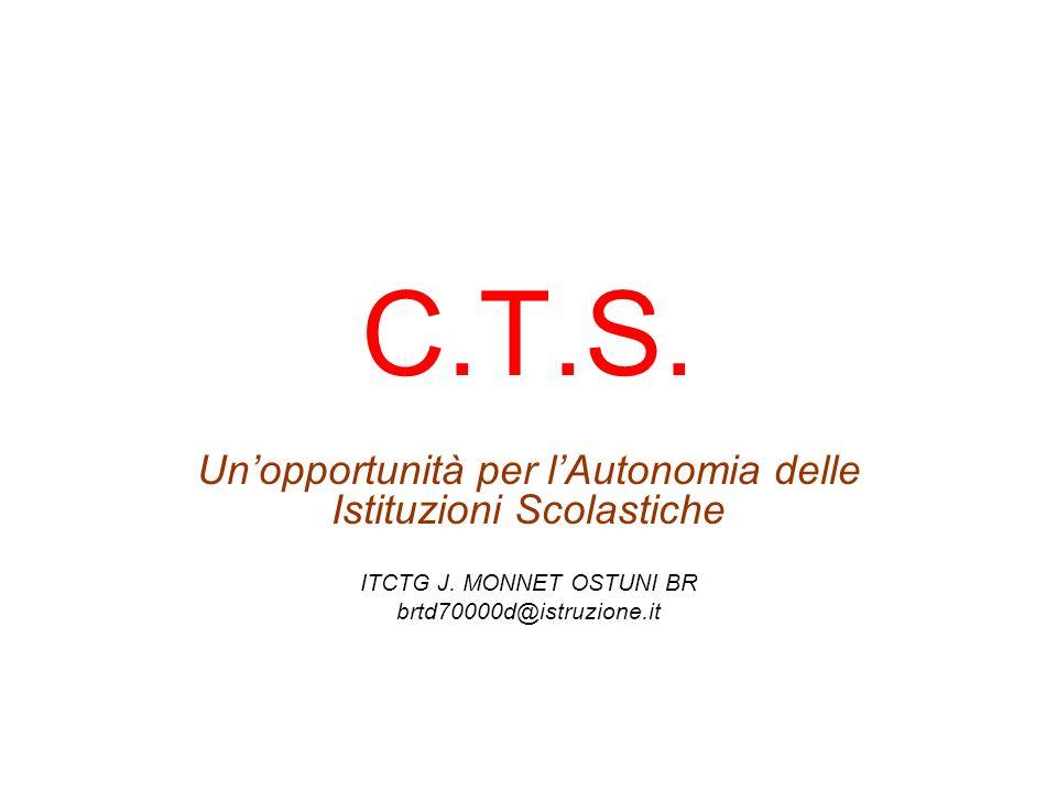C.T.S. Unopportunità per lAutonomia delle Istituzioni Scolastiche ITCTG J.