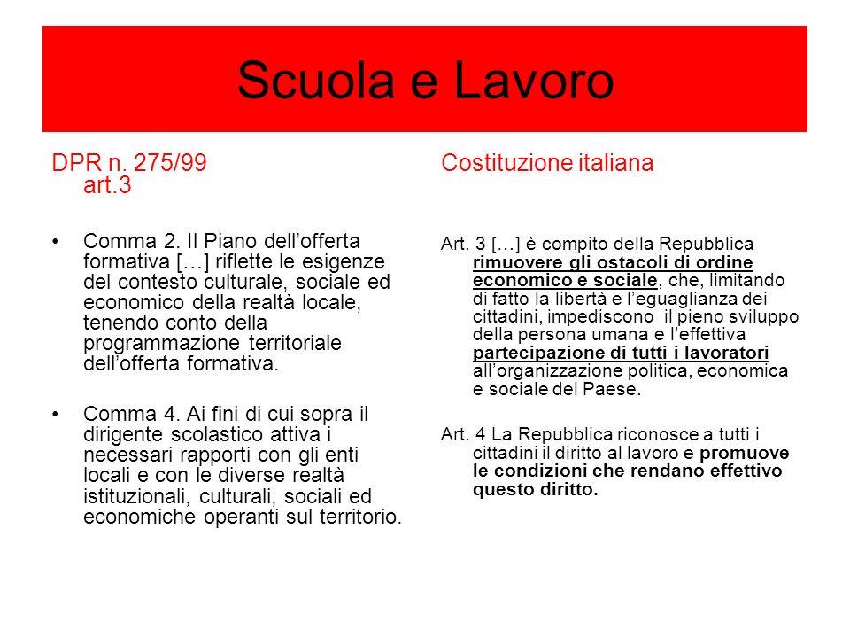 Scuola e Lavoro DPR n. 275/99 art.3 Comma 2.