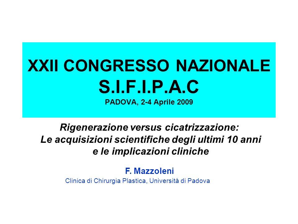 Rigenerazione versus cicatrizzazione: Le acquisizioni scientifiche degli ultimi 10 anni e le implicazioni cliniche F. Mazzoleni Clinica di Chirurgia P
