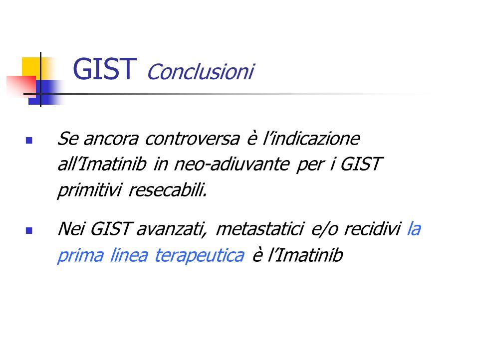 Se ancora controversa è lindicazione allImatinib in neo-adiuvante per i GIST primitivi resecabili. Nei GIST avanzati, metastatici e/o recidivi la prim