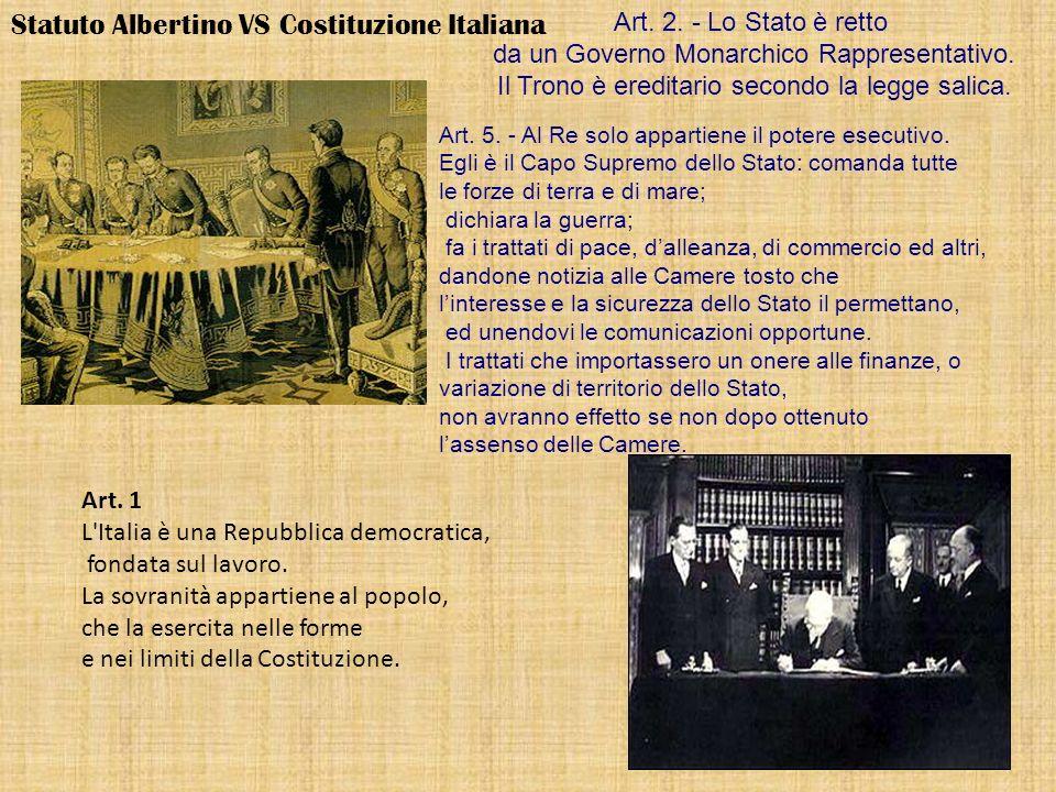 Statuto Albertino VS Costituzione Italiana Art. 2. - Lo Stato è retto da un Governo Monarchico Rappresentativo. Il Trono è ereditario secondo la legge