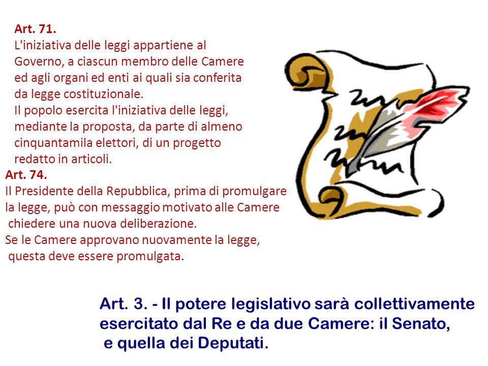 Art. 71. L'iniziativa delle leggi appartiene al Governo, a ciascun membro delle Camere ed agli organi ed enti ai quali sia conferita da legge costituz