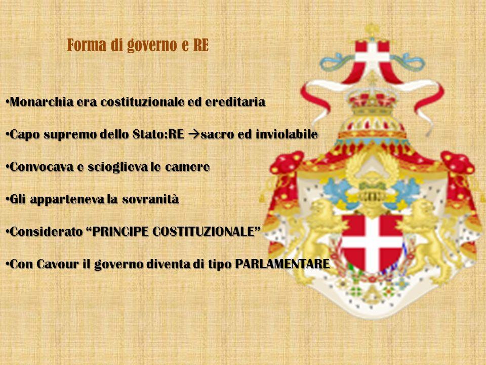 Forma di governo e RE Monarchia era costituzionale ed ereditaria Capo supremo dello Stato:RE sacro ed inviolabile Convocava e scioglieva le camere Gli