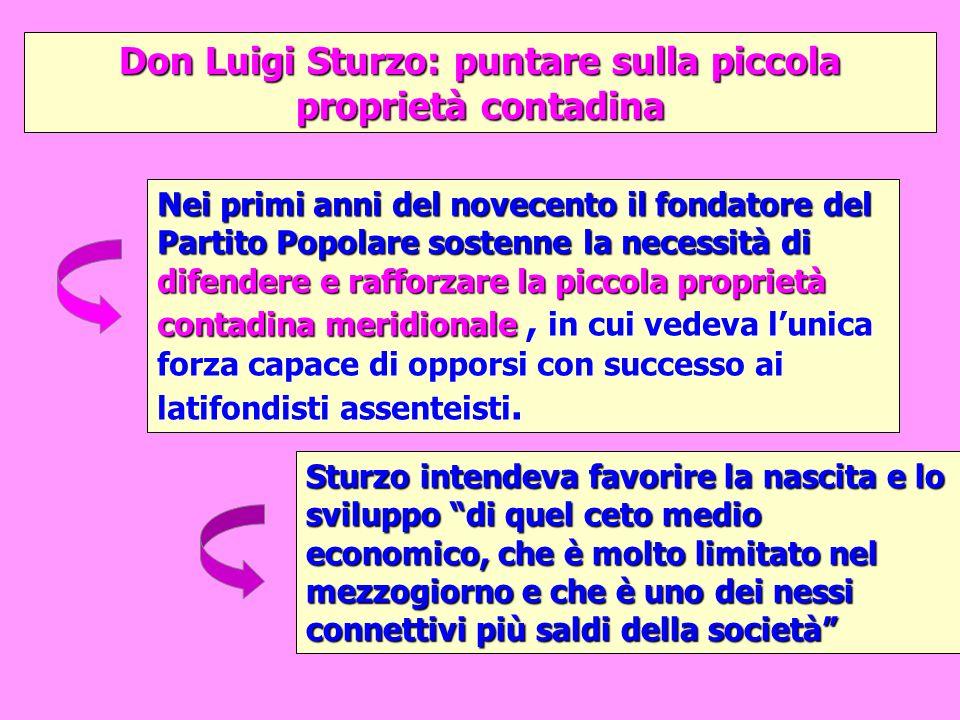 Don Luigi Sturzo: puntare sulla piccola proprietà contadina Sturzo intendeva favorire la nascita e lo sviluppo di quel ceto medio economico, che è mol