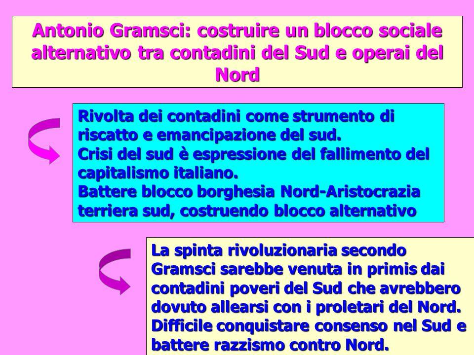 Antonio Gramsci: costruire un blocco sociale alternativo tra contadini del Sud e operai del Nord La spinta rivoluzionaria secondo Gramsci sarebbe venu