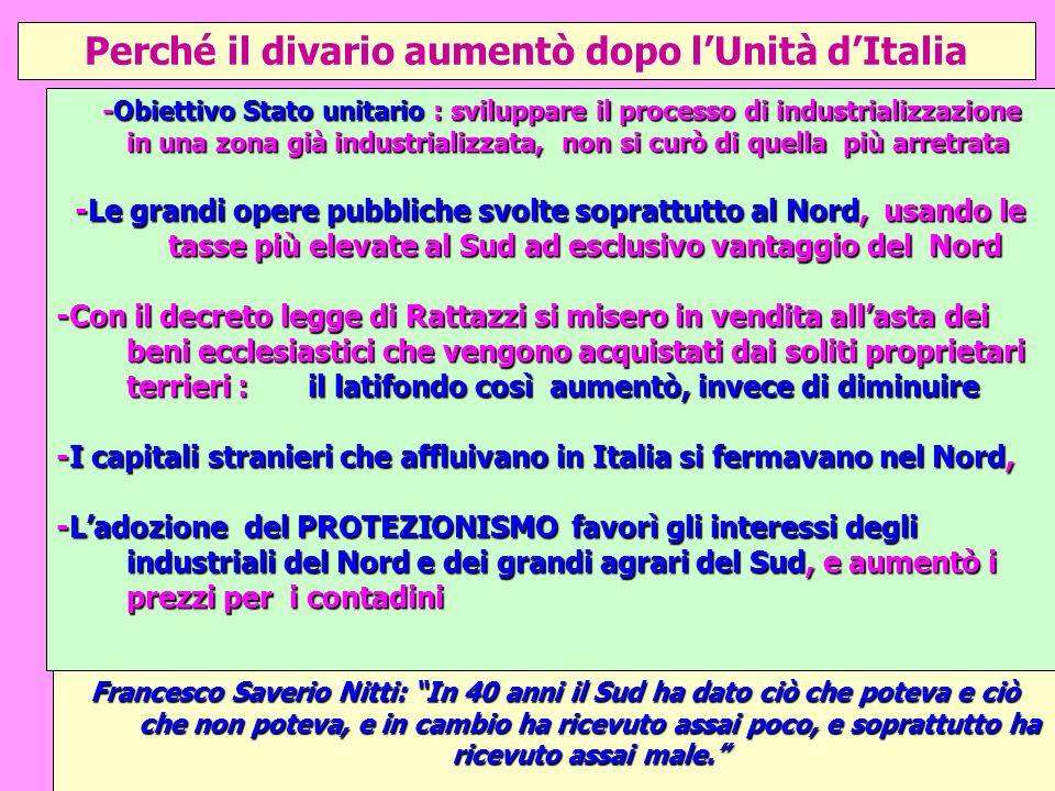 Perché il divario aumentò dopo lUnità dItalia -Obiettivo Stato unitario : sviluppare il processo di industrializzazione in una zona già industrializza