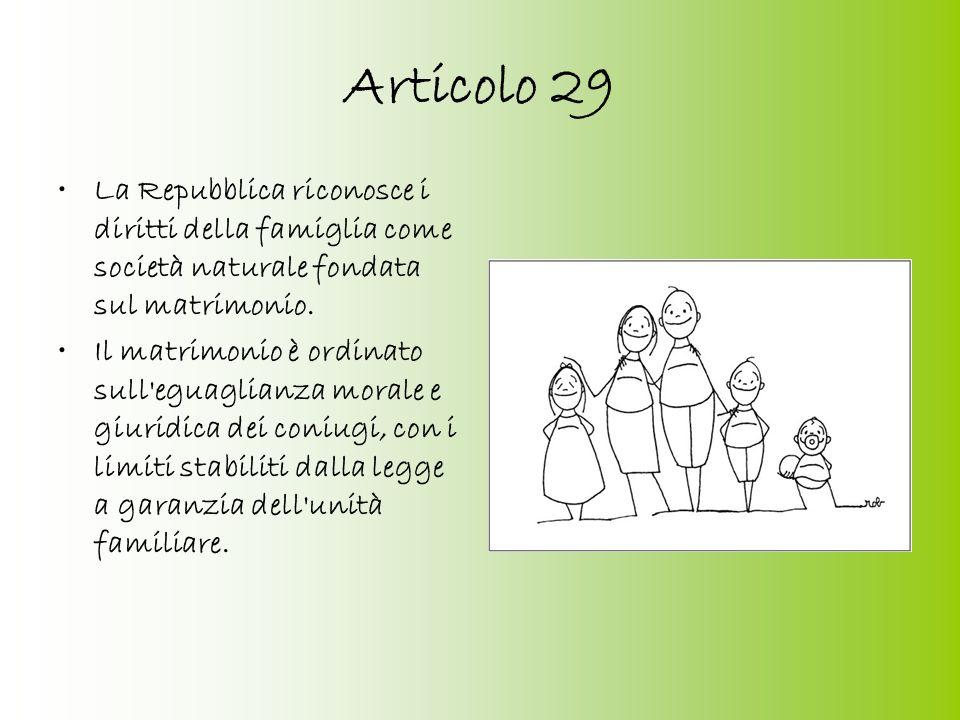 Introduzione La Costituzione dedica alla famiglia tre articoliCostituzione (collocati all'interno del Titolo II intitolato