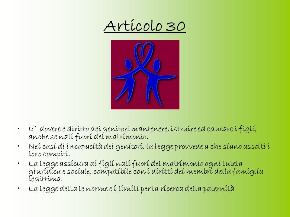 Articolo 30 E` dovere e diritto dei genitori mantenere, istruire ed educare i figli, anche se nati fuori del matrimonio.