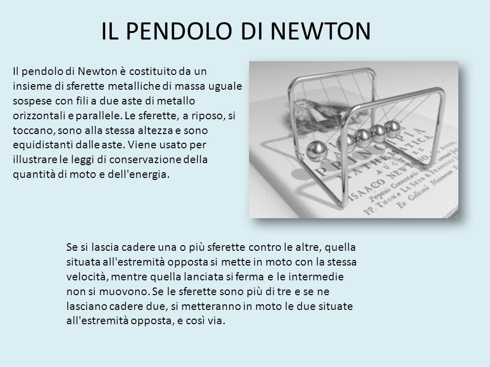 Il pendolo di Newton è costituito da un insieme di sferette metalliche di massa uguale sospese con fili a due aste di metallo orizzontali e parallele.