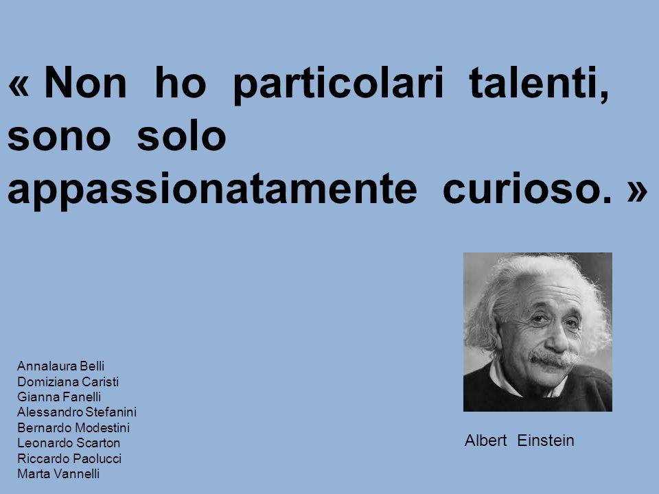 « Non ho particolari talenti, sono solo appassionatamente curioso. » Albert Einstein Annalaura Belli Domiziana Caristi Gianna Fanelli Alessandro Stefa