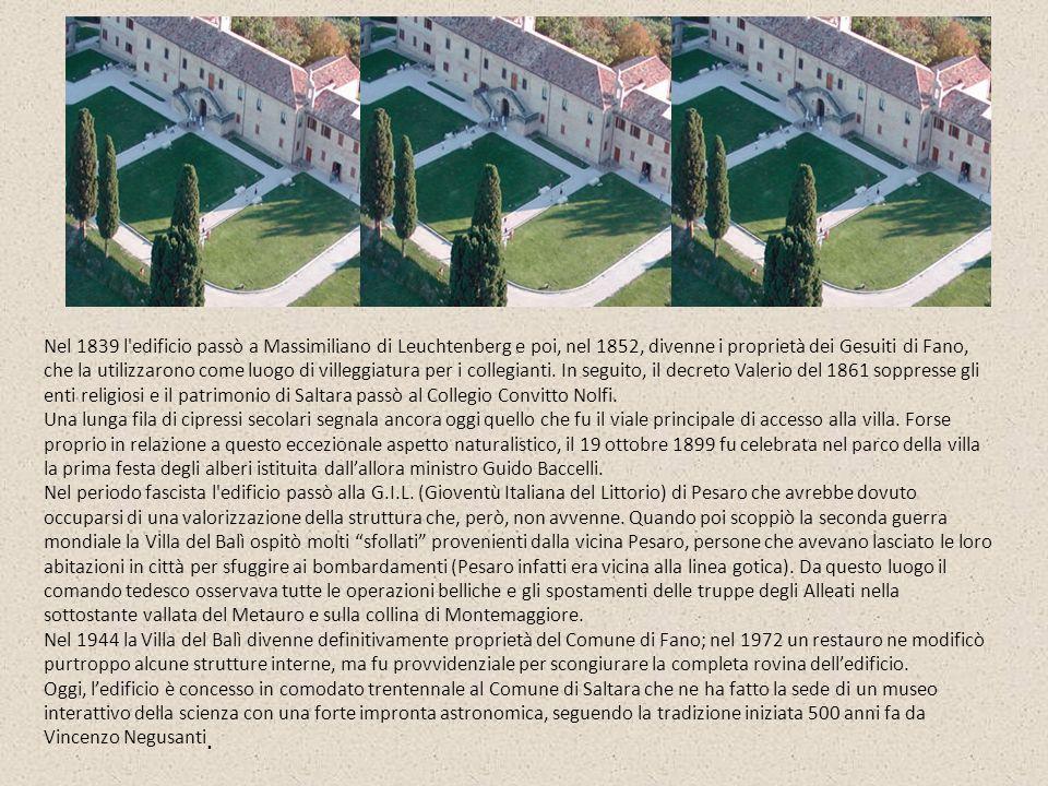 Un planetario con 46 posti, dedicato a Giuseppe Occhialini, padre dellastrofisica delle alte energie nativo della vicina Fossombrone, permette losservazione del cielo sotto una cupola di 8 metri.
