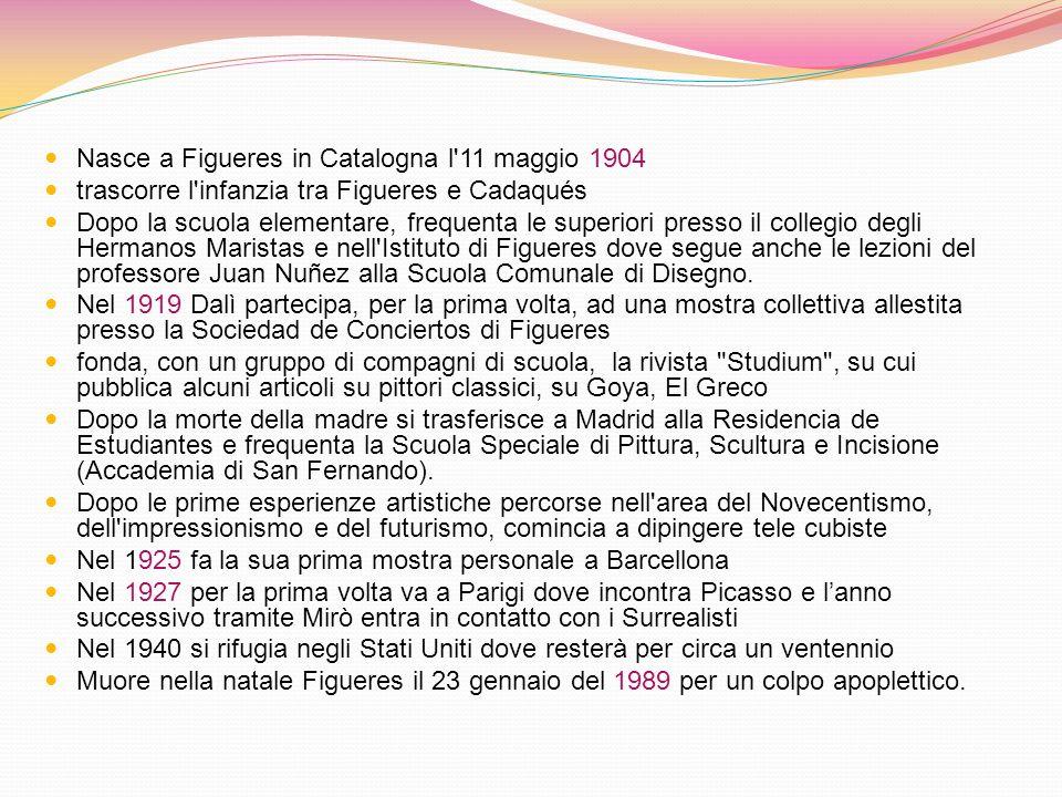 Nasce a Figueres in Catalogna l 11 maggio 1904 trascorre l infanzia tra Figueres e Cadaqués Dopo la scuola elementare, frequenta le superiori presso il collegio degli Hermanos Maristas e nell Istituto di Figueres dove segue anche le lezioni del professore Juan Nuñez alla Scuola Comunale di Disegno.