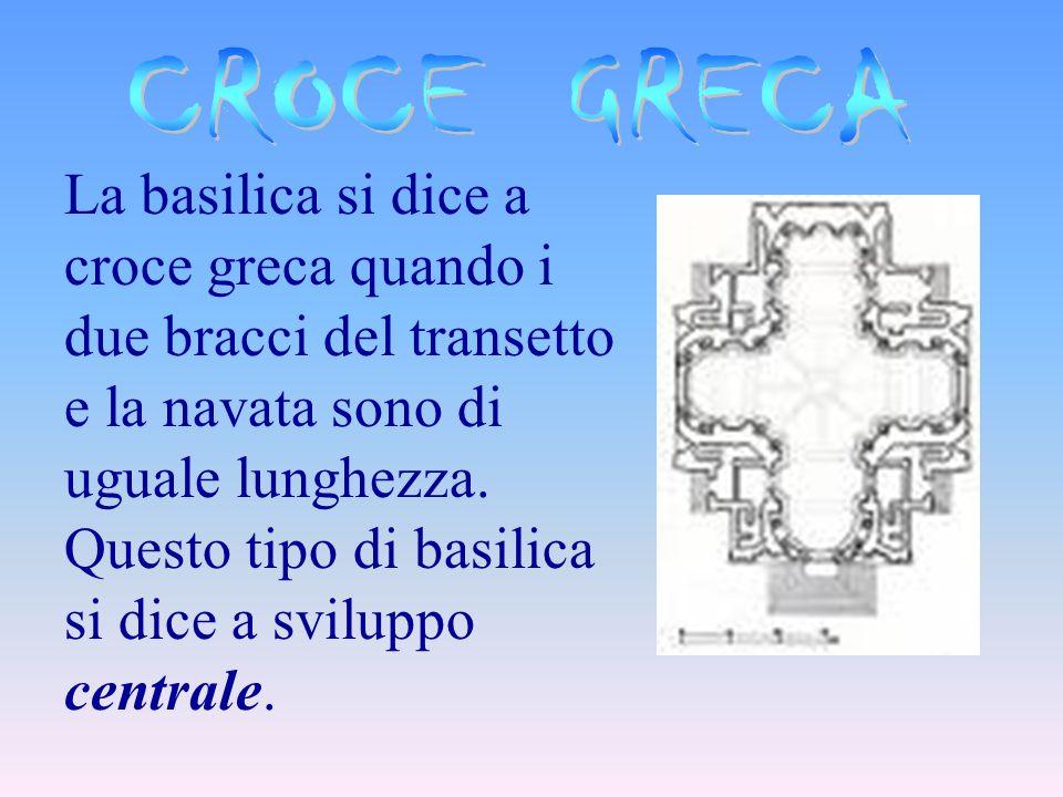 La basilica si dice a croce latina se i due bracci del transetto sono più corti delle navate, e si divide in: Immissa, se il transetto è a circa 2/3 d
