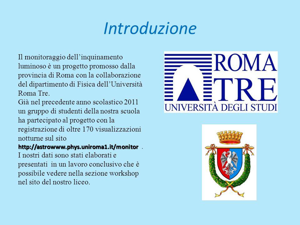 Introduzione Il monitoraggio dellinquinamento luminoso è un progetto promosso dalla provincia di Roma con la collaborazione del dipartimento di Fisica dellUniversità Roma Tre.