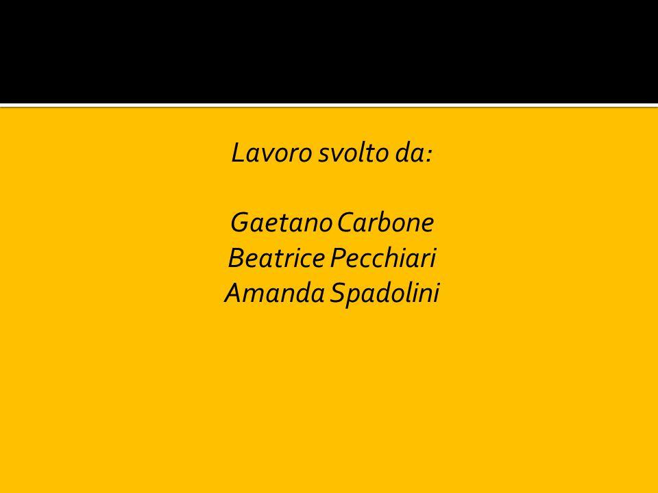 Lavoro svolto da: Gaetano Carbone Beatrice Pecchiari Amanda Spadolini