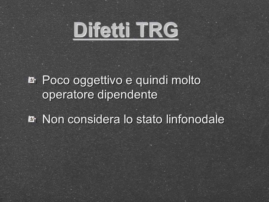 Difetti TRG Poco oggettivo e quindi molto operatore dipendente Non considera lo stato linfonodale