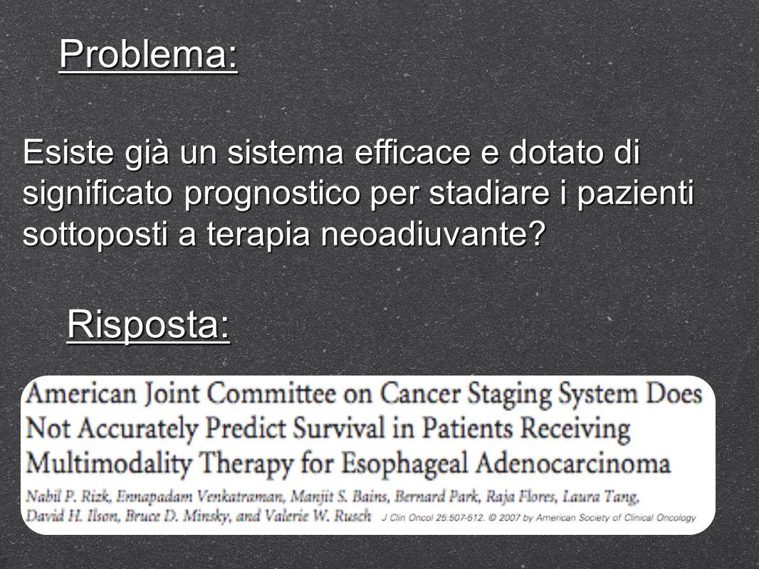 Esiste già un sistema efficace e dotato di significato prognostico per stadiare i pazienti sottoposti a terapia neoadiuvante? Problema: Risposta: No,