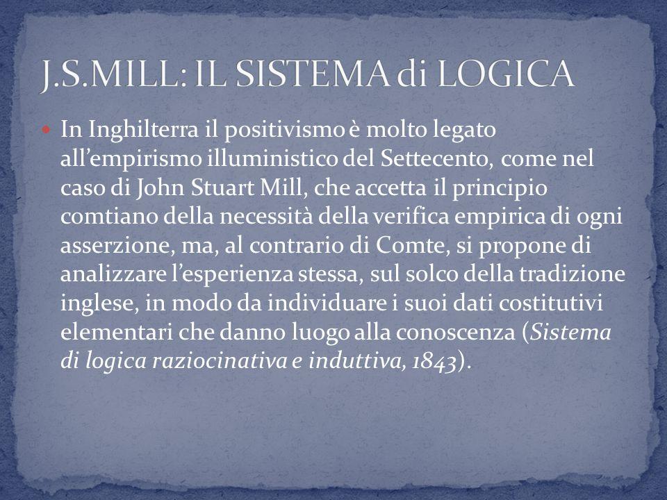 In Inghilterra il positivismo è molto legato allempirismo illuministico del Settecento, come nel caso di John Stuart Mill, che accetta il principio co