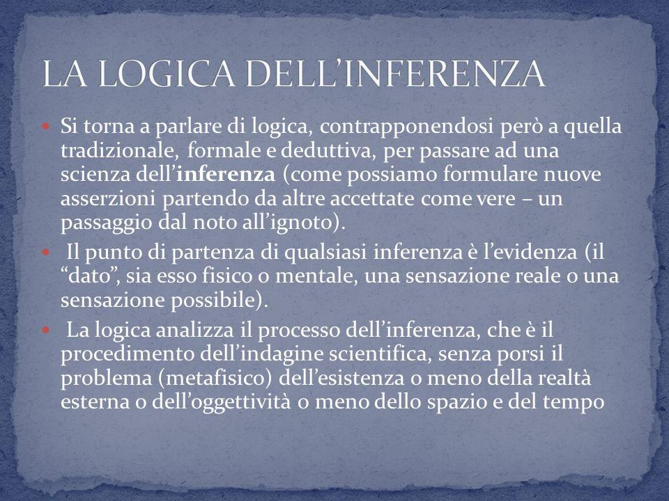 Si torna a parlare di logica, contrapponendosi però a quella tradizionale, formale e deduttiva, per passare ad una scienza dellinferenza (come possiam