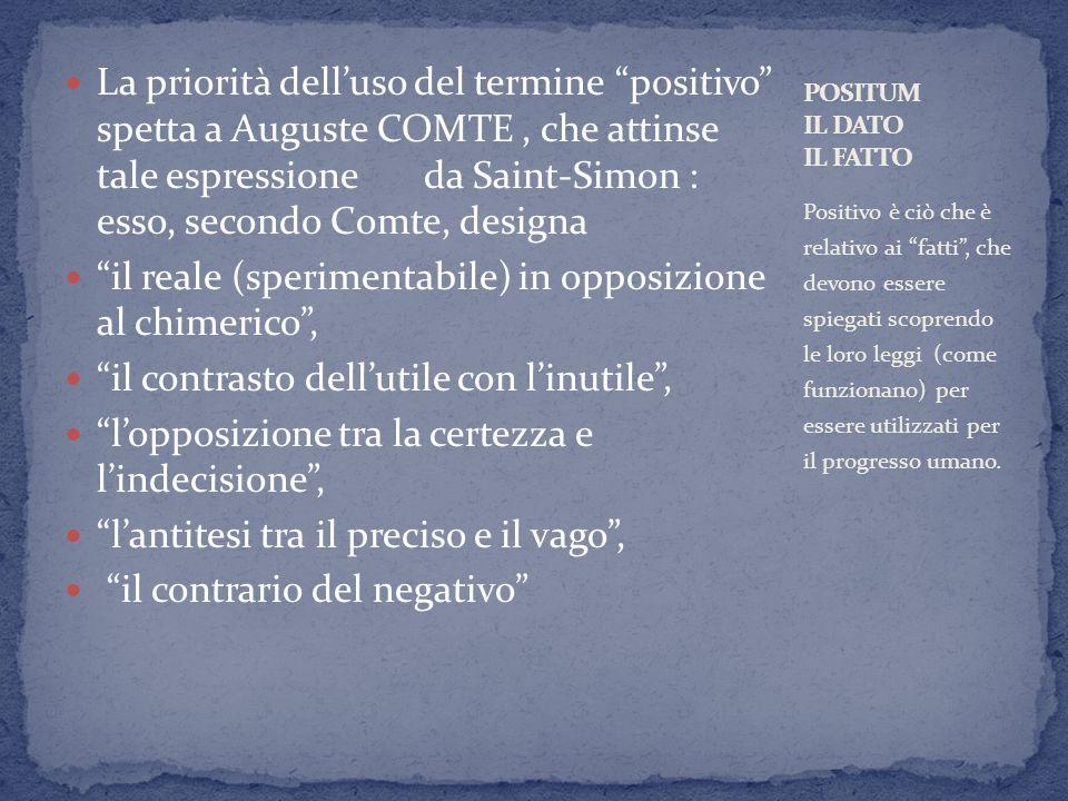 La priorità delluso del termine positivo spetta a Auguste COMTE, che attinse tale espressione da Saint-Simon : esso, secondo Comte, designa il reale (