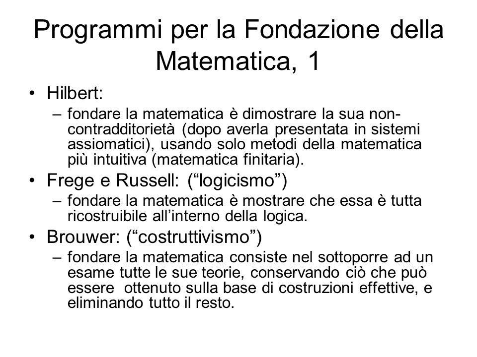 Programmi per la Fondazione della Matematica, 1 Hilbert: –fondare la matematica è dimostrare la sua non- contradditorietà (dopo averla presentata in s